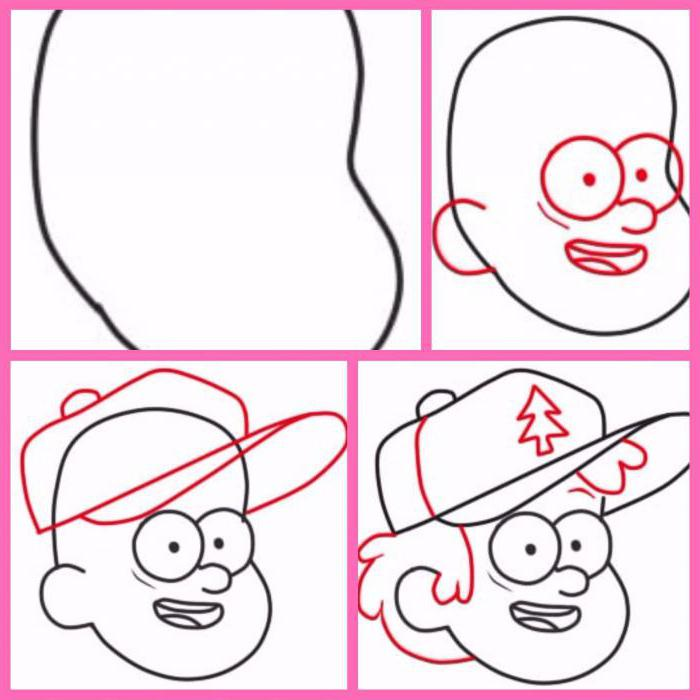 How to draw Gravity falls: step by step and the example of the main character Dipper