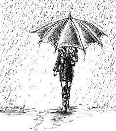 нарисовать дождь и ветер