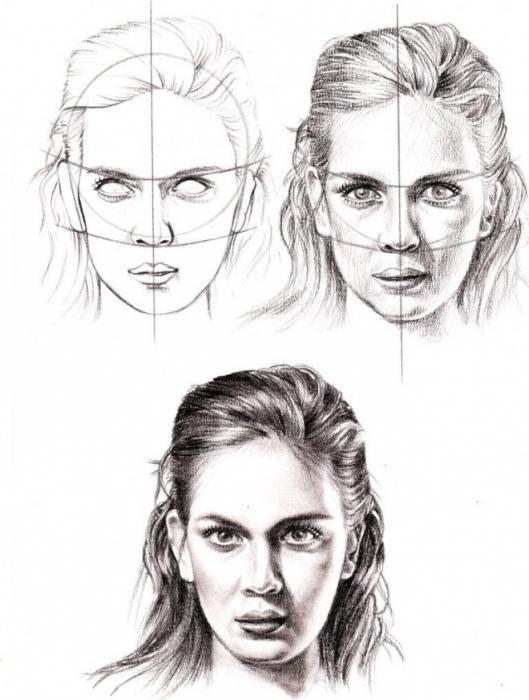 рисуем поэтапно портрет человека