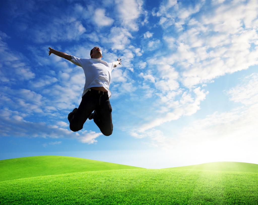 Guy jumping with happiness