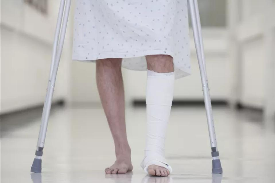 Walking on crutches