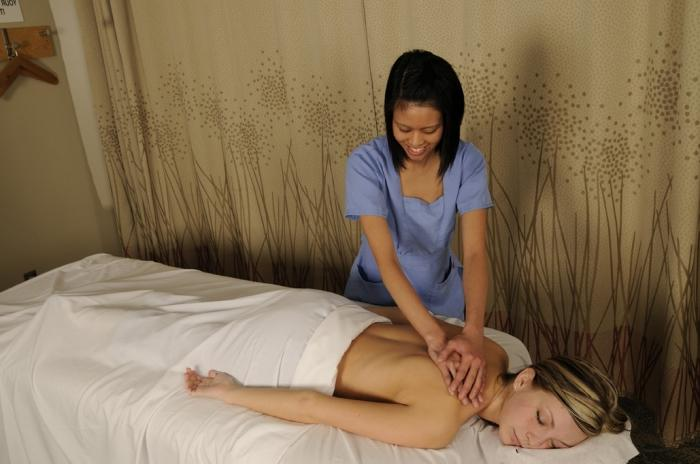Massage Rooms Stunning Blonde Has Intense Lesbian.