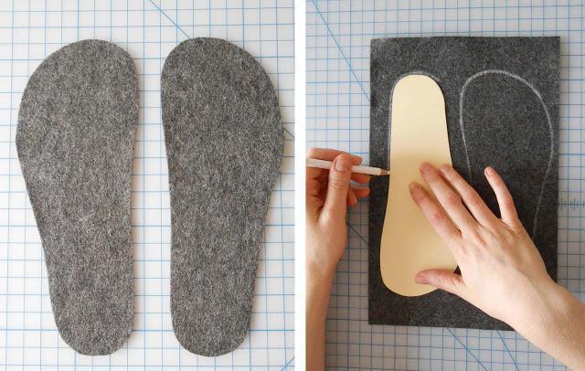 выкройка домашних тапочек из меха
