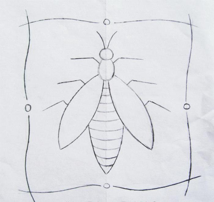"""Схема вышивки """"Муха"""" на бумаге"""
