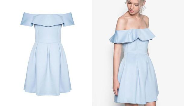 моделирование платья с открытыми плечами и воланом