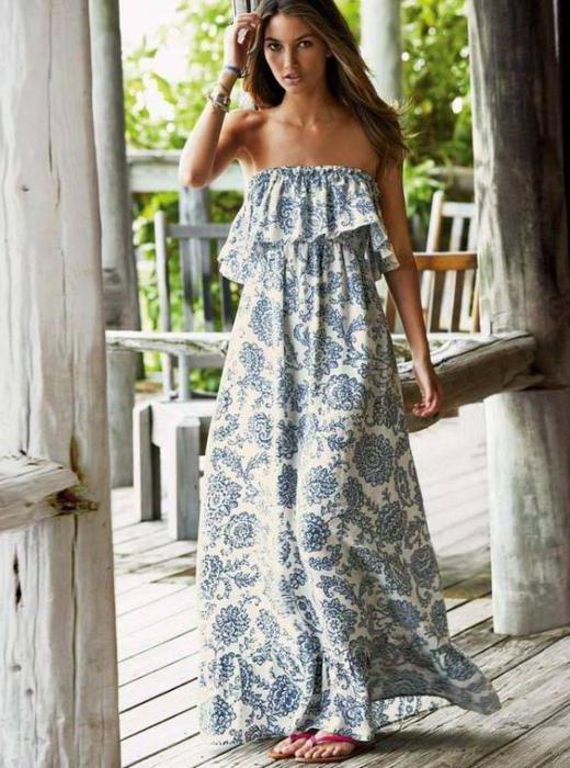 сшить платье с открытыми плечами с воланом