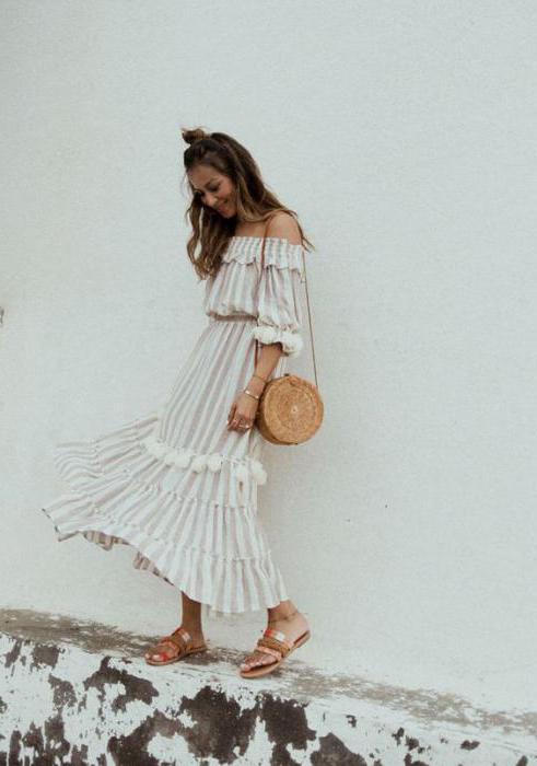 платье с открытыми плечами и воланами выкройка