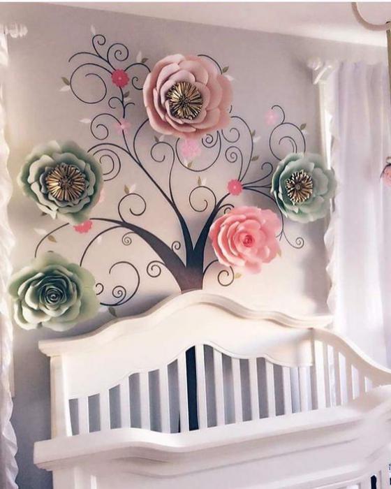 на стенку большие цветы из фоамирана