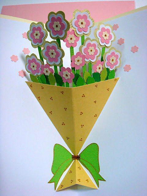 объемные цветы на открытку своими руками пошагово