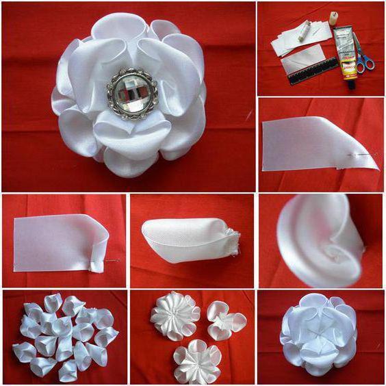 Цветы канзаши из белых лент 5
