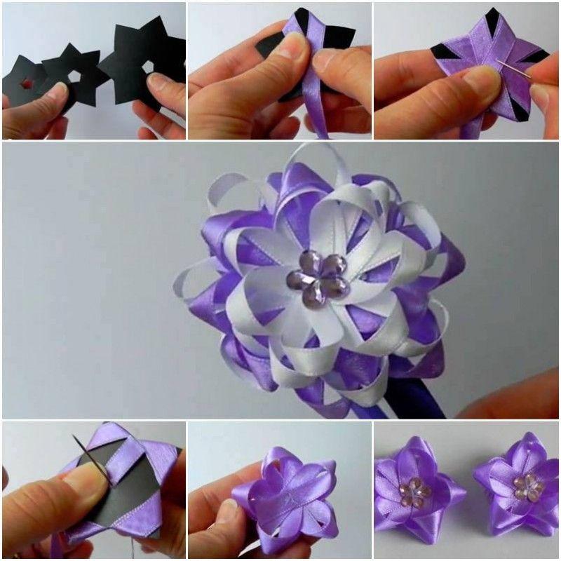 Цветы из ленточек как сделать сам