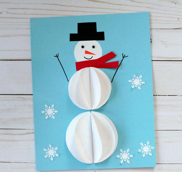 Снеговик открытка из бумаги, мужчине