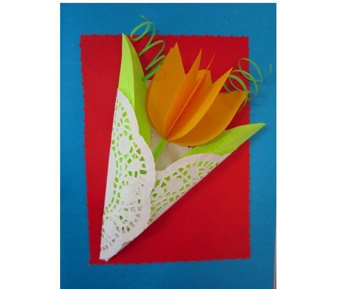 Тюльпан открытка из бумаги, про смайликов