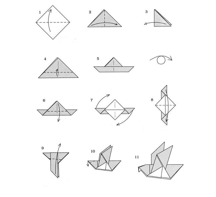Как сделать голубя из бумаги оригами схема фото 454