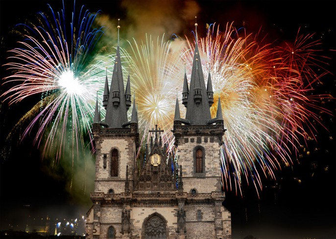 fireworks on the Old Town Square