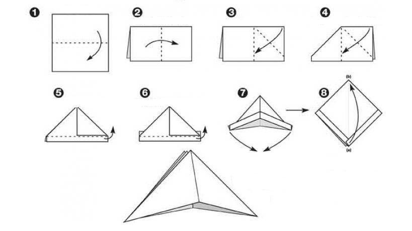 схема оригами пиратской шляпы