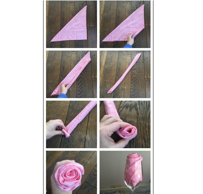 как сделать из салфетки розу