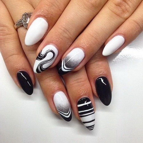 how to make black and white manicure
