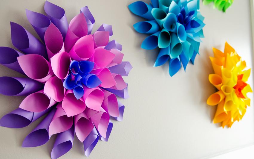 цветы из цветной бумаги фото переносе