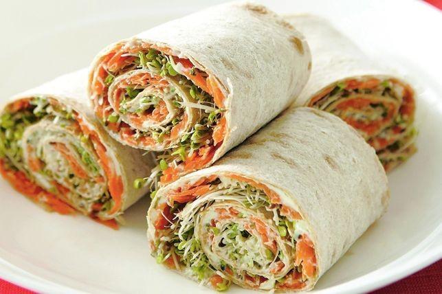 pita rolls with Korean carrots