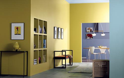 горчичный цвет стен в интерьере