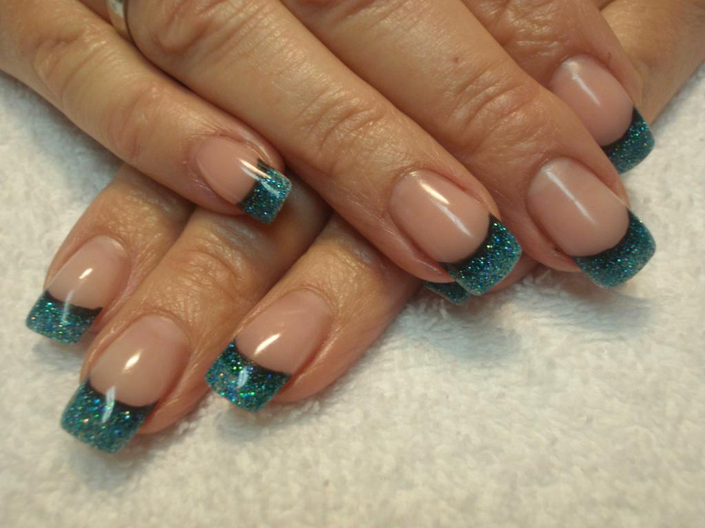 french manicure with a colorful smile