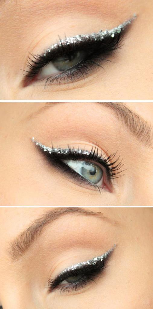 макияж кошачий глаз с блестками