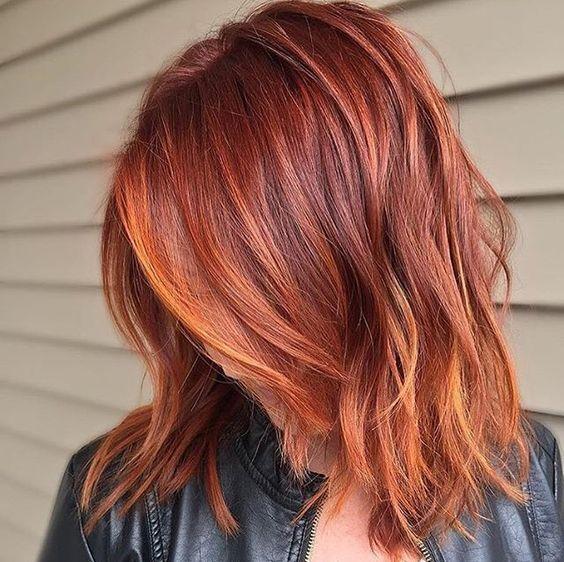 Окрашивание волос рыжий с мелированием