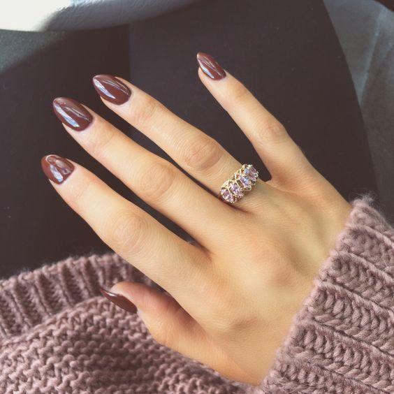 plain brown manicure
