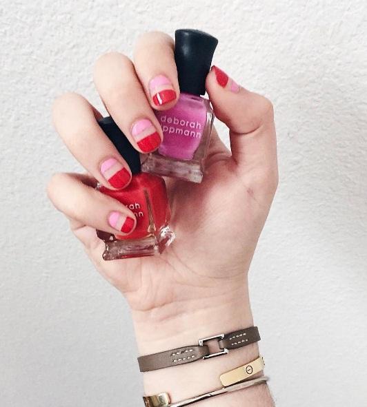 Маникюр красный с розовым: идеи дизайна ногтей