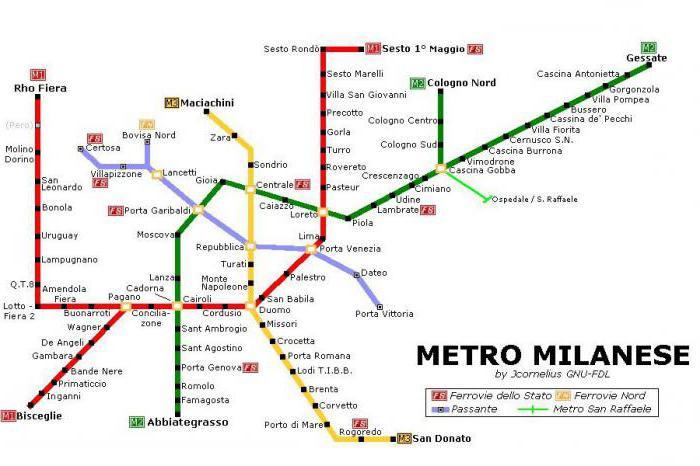 Схема метро милана на русском языке