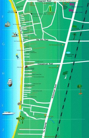 Карта отелей паттайя джомтьен