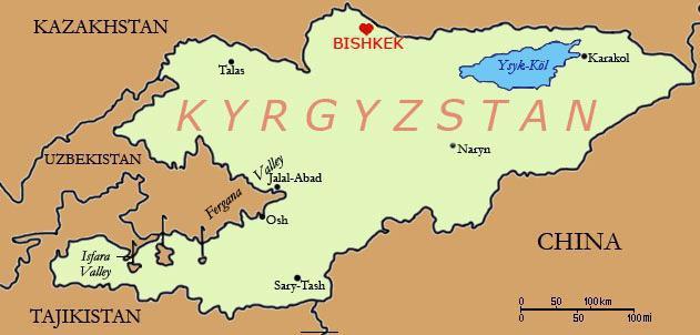 Киргизия на карте