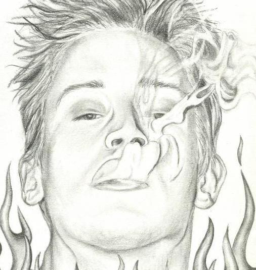 как нарисовать сигарету с дымом