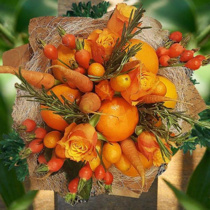 букет из мандаринов своими руками