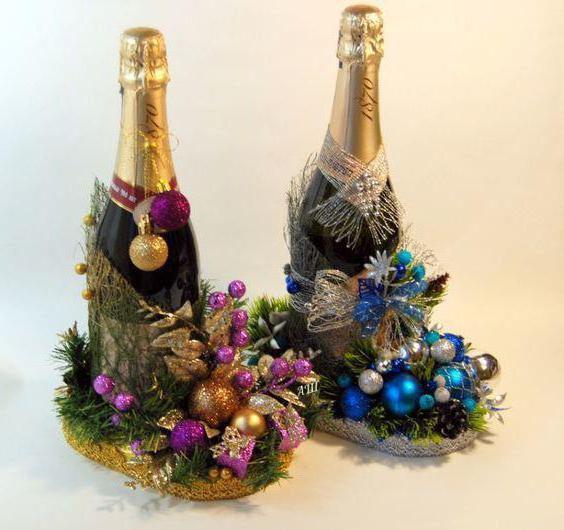украсить бутылку шампанского на новый год конфетами