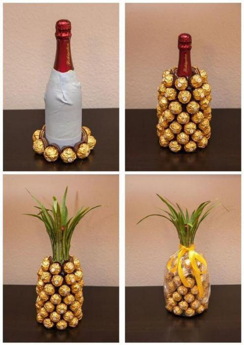 как украсить бутылку шампанского конфетами