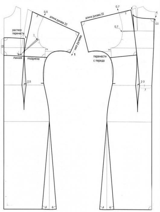 выкройки прямого платья с коротким рукавом