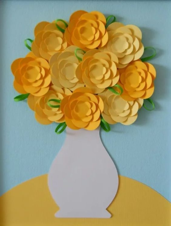 открытка с вазой и цветами из бумаги своими руками