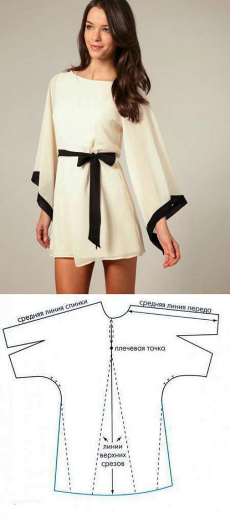 выкройка прямого платья с рукавом 3 4 в натуральную величину