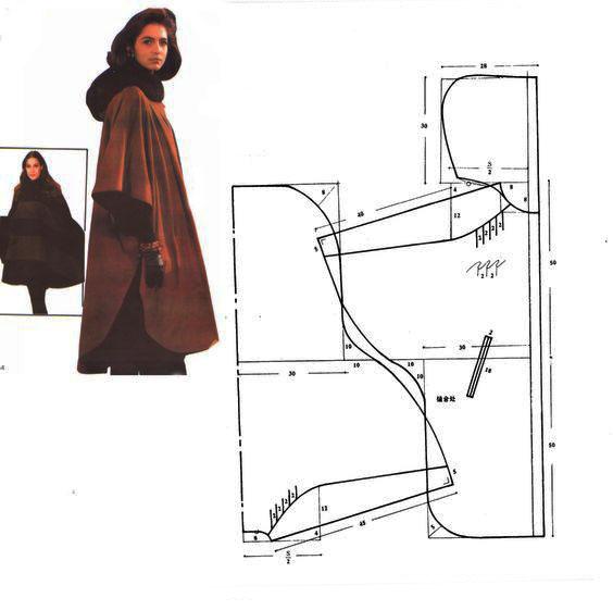 выкройка пальто с капюшоном воротником