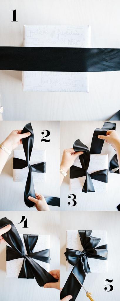 как обернуть подарок лентой