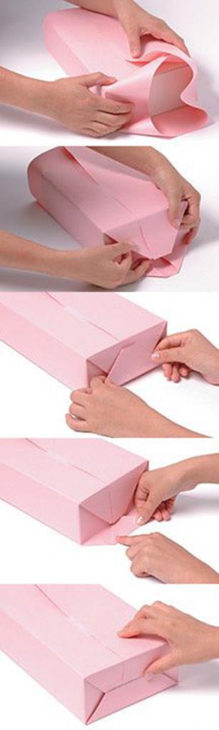 как упаковать картину в подарочную бумагу фото