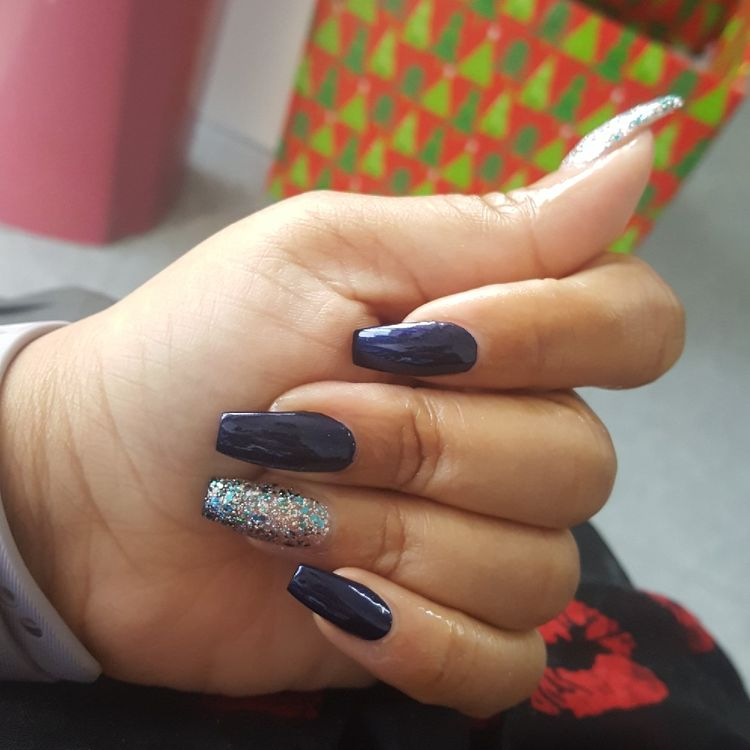 blue manicure with rhinestones photo