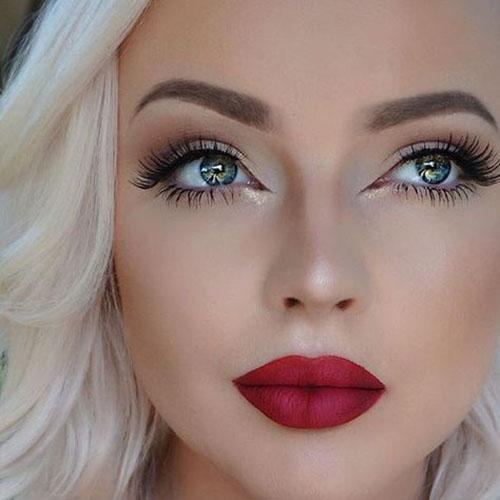 макияж под бордовое платье для блондинок