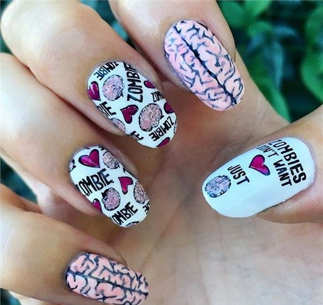 Manicure with inscriptions.