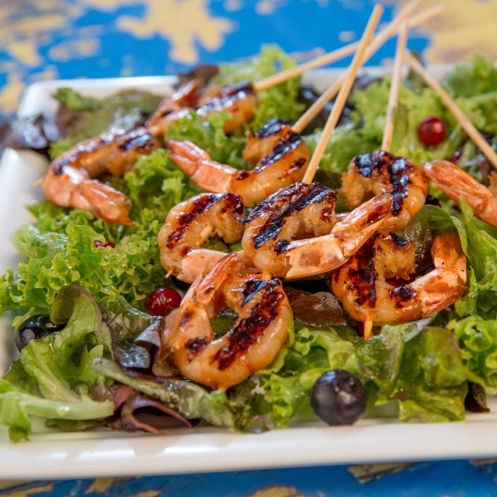 salad with salted mushrooms and shrimp