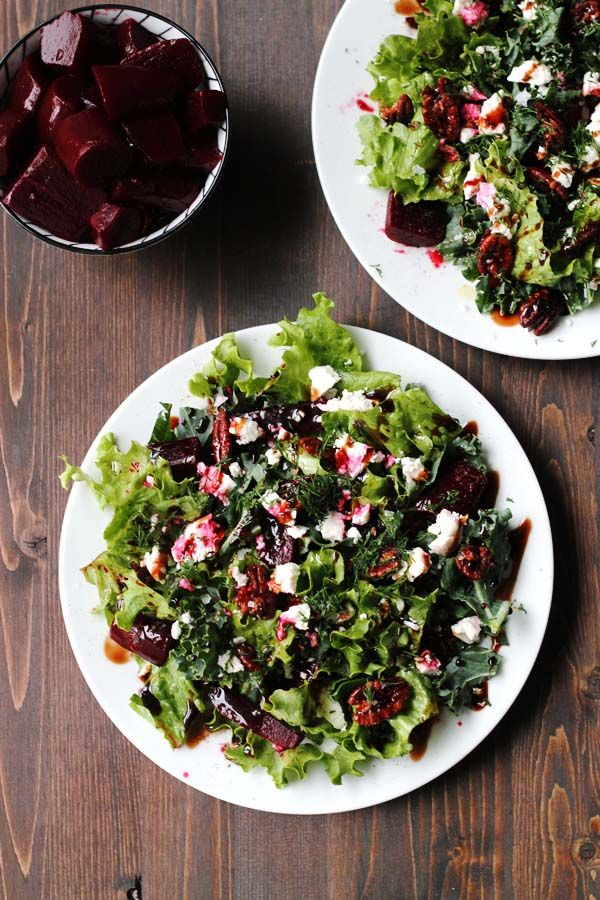 salad with salted mushrooms and arugula photo