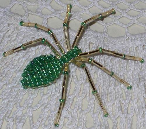 Как сделать из бисера паука схема