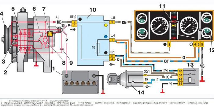 схема подключения генератора ваз 2107 карбюратор
